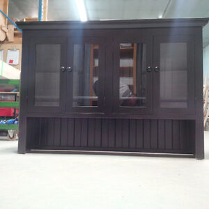 New Solid Wood Black Finished Rustic 4 Glass Door Hutch