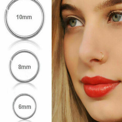 Fake Nose Ring Septum Ring Hoop Cartilage Tragus Helix Small Thin Piercing Daith (Hoop Nose Ring)