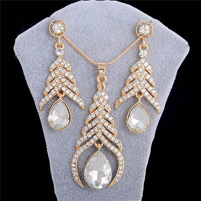 18k Gold Rhinestone Crystal Necklace Earrings Fashion Women Wedding Jewelry Set