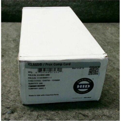 200 HID iClass Prox Cards 2124BG1ANN PVC White w/Gloss Finish Mag Stripe 4K