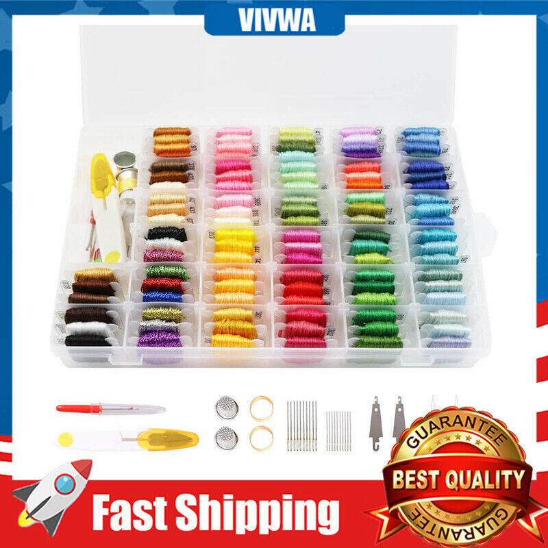 100 Colors Embroidery Thread Kit 40Pcs Cross Stitch Tools Cr