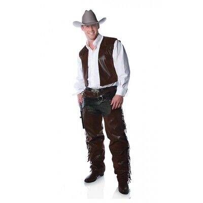 Western Brown Faux Leather Cowboy Fringed Chaps & Vest Costume Outfit Adult - Cowboy Chaps Costume