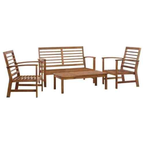 Garden Furniture - 4 Pieces Wooden Garden Furniture Sofa Set Patio Bistro Table Outdoor Lounge Set