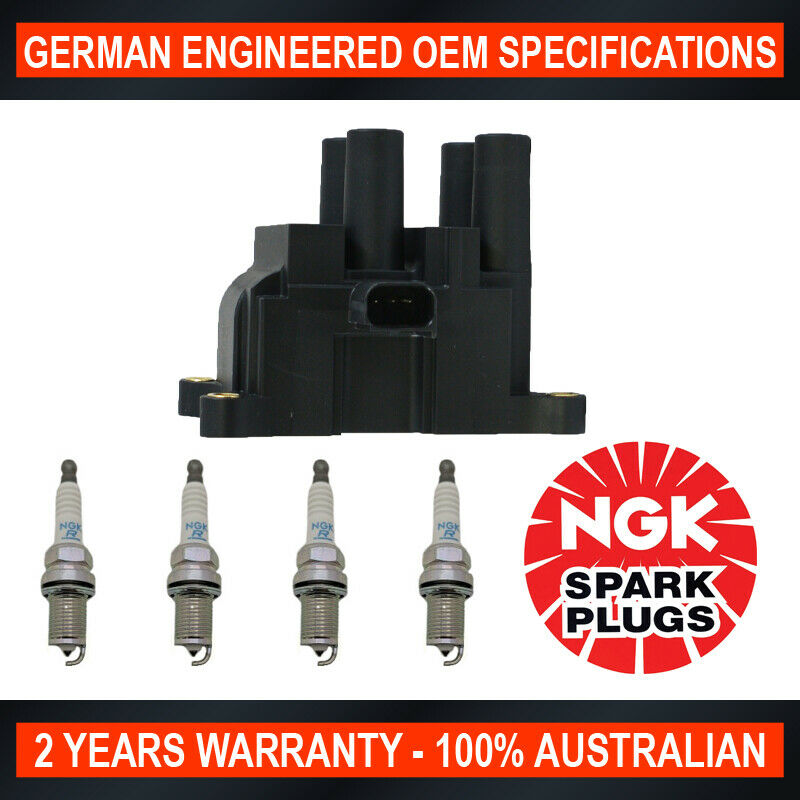 Set 4x Platinum NGK Spark Plugs 4x Swan Ignition Coils for Nissan Tiida X-Trail