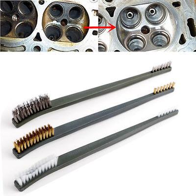 3PCS Wire Brush Set Steel Brass Nylon Cleaning Polishing Detail Metal Rust Brush