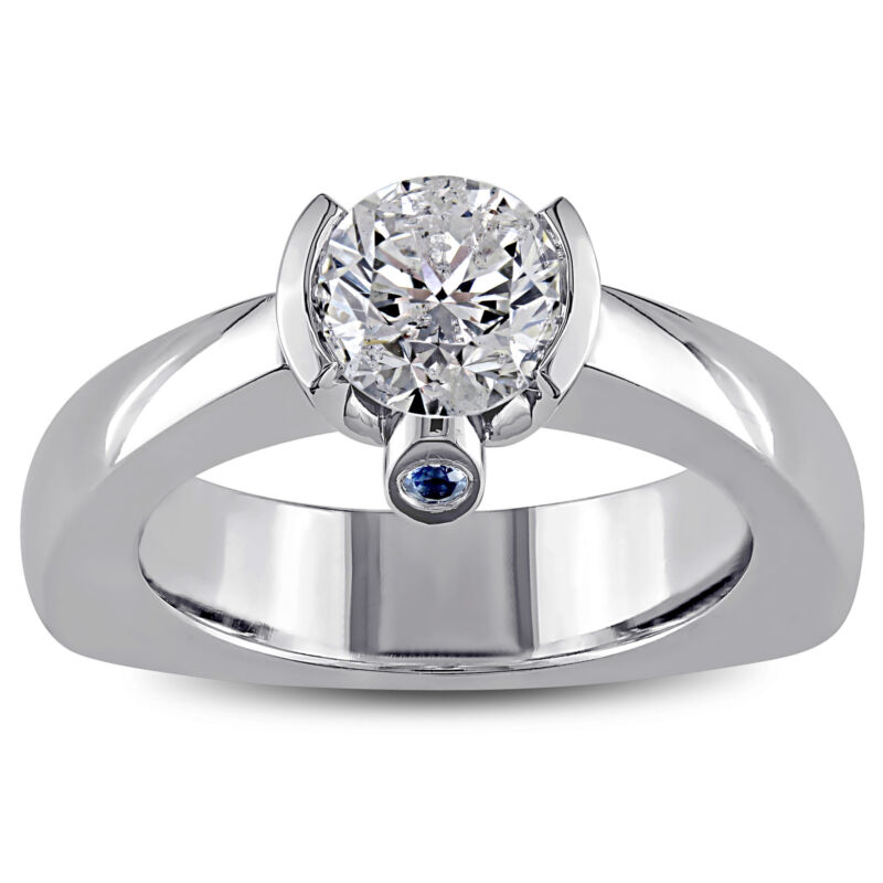 Amour 1 Ct Diamond Tw & Red Sapphire Engagement Ring In 18k White Gold