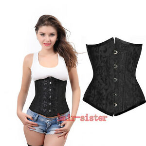 Pure Underbust Waist training STEEL boned lace up corset Top+G-string Plus S-6XL