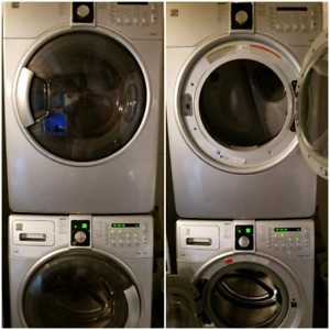Silver Kenmore elite steam washer and dryer