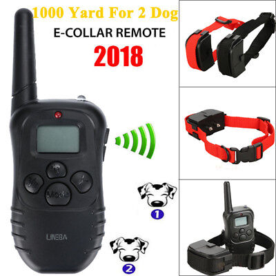 1000 Yard Waterproof 2 Dog Shock Training Collar with Remote Rechargeable 4 Mode