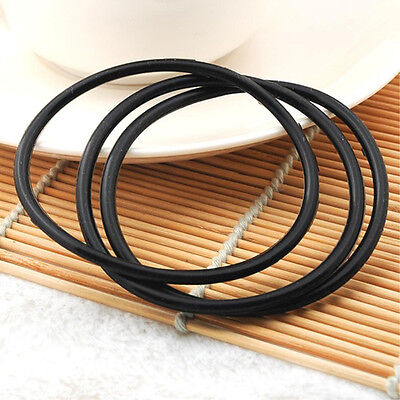 10 Pcs Silicone Gummy Bands Bracelets Rubber Jelly Bracelets Black
