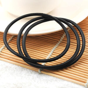 10 Pcs Silicone Gummy Bands Bracelets Rubber Jelly Black