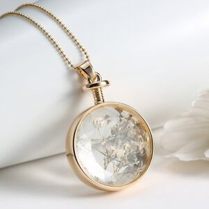Women Luxury Dried Real Flower Round Clear Resin Pendant Necklace Gold Jewellery