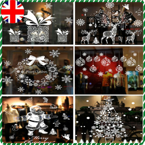 Home Decoration - Christmas Window Stickers Xmas Santa Removable Art Decal Wall Home Shop Decor UK