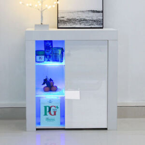 High Gloss LED Light Cabinet Cupboard Sideboard Dining Room Furniture White