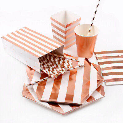 Rose Gold Wedding Tableware Set Supply Straws Kids Birthday Party Decorations (Gold Tableware)