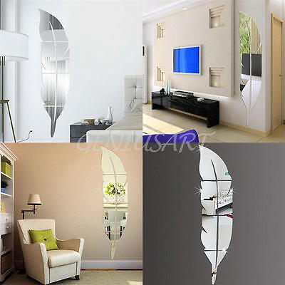New Removable Home Mirror Wall Stickers Modern Decal Art Vinyl Room Decor Diy Nm