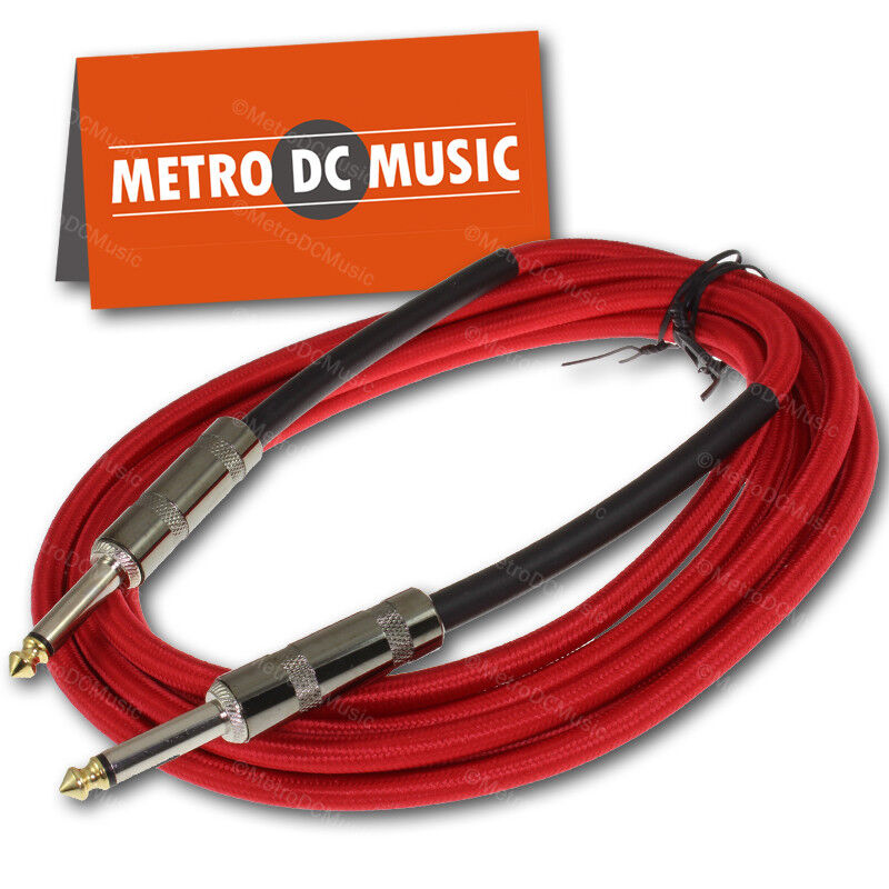 """10 ft Red Woven Guitar Instrument Cable Cord Effect Patch 1/4"""" Plugs"""