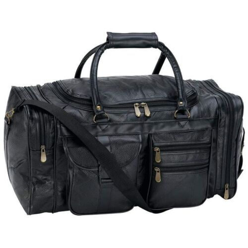 Купить Embassy - NEW 21 Black Pebble Grain Leather Duffle Tote Bag- Gym Carry On Mens Luggage