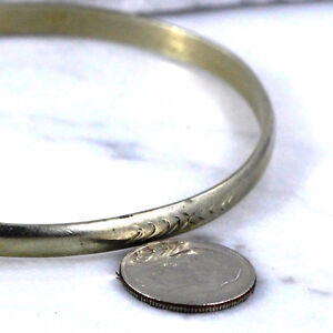 925 5mm Hand Stamped Half Round Bangle Bracelet