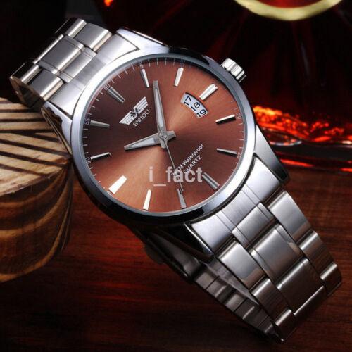 Men's Watch Stainless Steel Band Date Calendar Analog Quartz Wrist Watch Hot US