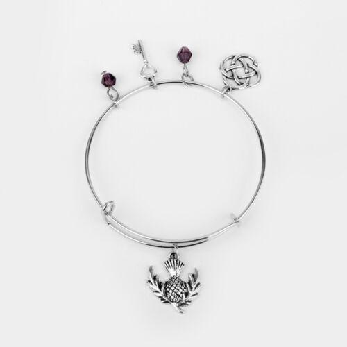 Scottish Thistle, Celtic Knot, Purple Beads and heart Key Expandable Bangle