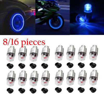 - 8 / 16pcs LED Wheel Tire Tyre Valve Caps Blue Neon Light for Car Motorcycle Bike