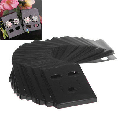 100pcs Black Plastic Earring Ear Studs Hanging Holder Stands Display Hang Cards