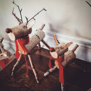 Mini Birch Reindeer Decorations