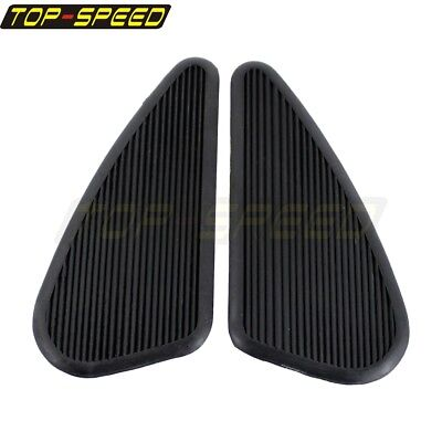 Motorcycle Tank Panels - Motorcycle Vintage Style Slim Gas Tank Knee Pads Side Panels Rubber Universal