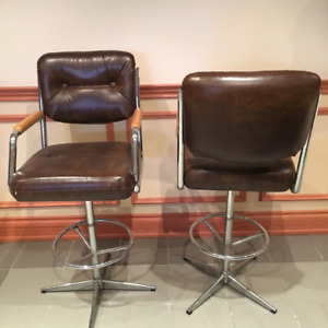 Two Leather Bar Chairs