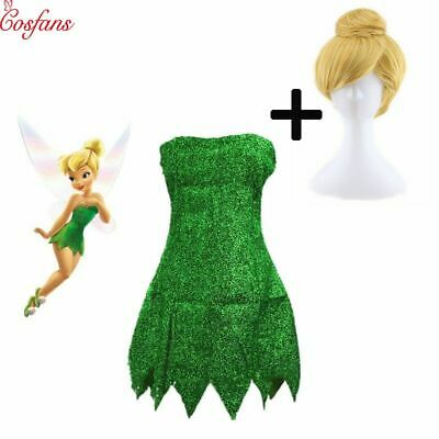 Pixie Fairy Cosplay Costume Tinker Bell Green Adult Dress Halloween Party 2019](Green Fairy Halloween Costumes)