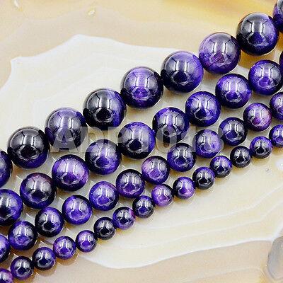Tiger Eye Gemstone Beads - Natural Purple Amethyst Tiger's Eye Gemstone Round Beads 15