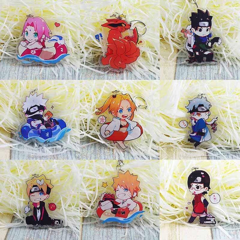 Details about Anime Naruto Double-sided Acrylic Keychain Sasuke Kakashik  Yuubi Kurama