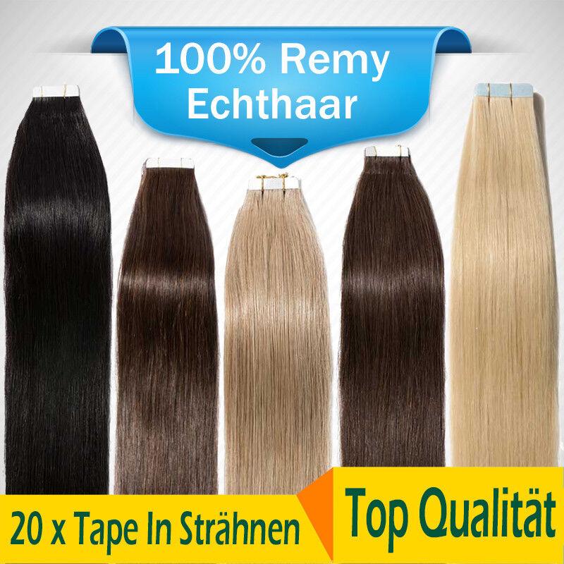 100% Remy Echthaar 40 Tressen Tape In Hair Extensions Haarverlängerung 40CM-60CM