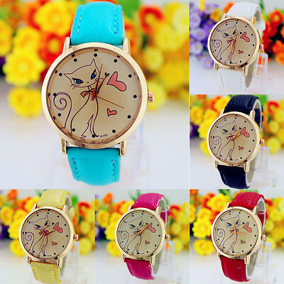 Womens Cat Pattern Analog Quartz Watch Faux Leather Strap Band Wrist Watch