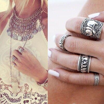 4PCS Silver Punk Vintage Ring Womens Retro Elephant Finger Rings Set Boho Style