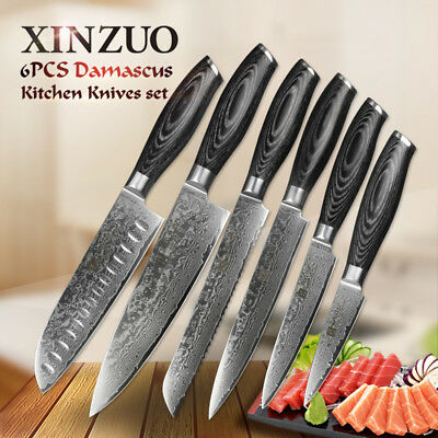 XINZUO 6pcs Damascus Kitchen Knife SetsChef cutlery stainless steel kitchen tool