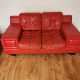 Enzo Red Leather 2 seater and 3 seater sofa