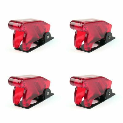 4pcs Toggle Switch Boot Plastic Safety Flip Cover Cap 12mm Clear Red B3