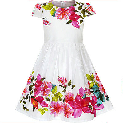 Sunny Fashion Girls Dress Flower Print Cap Sleeve Summer Sundress Size 2 6