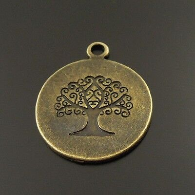 40Pcs Vintage Bronze Alloy Round Engraved Tree Charm Pendant Finding Hot 38023
