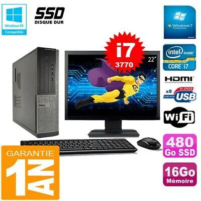PC DELL 3010 DT Core I7-3770 Ram 16Go Disque 480 Go SSD Wifi W7 Ecran 22