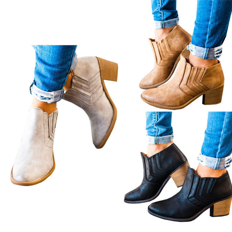 Women Slip On  Ankle Boots Ladies Casual Mid Block Heel Chunky Booties Shoe Size