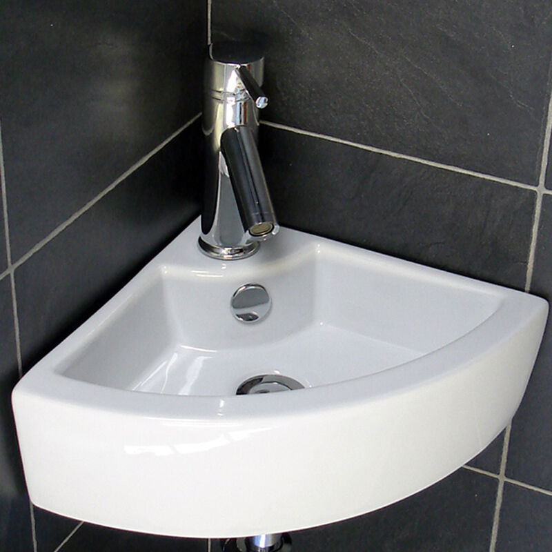 BN WHITE CORNER MOUNTED CERAMIC BASIN SINK BATHROOM
