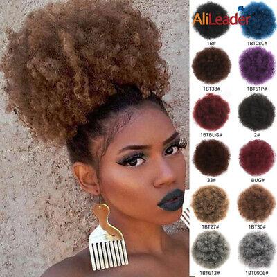 Natural Afro Hair Bun Synthetic Kinky Curly Ponytail Puff Drawstring (Natural Puff)