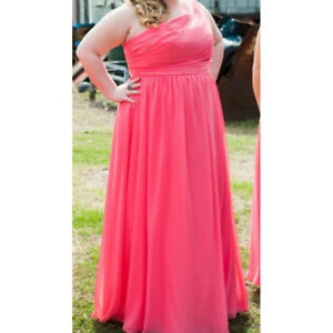 Long one-shoulder coral chiffon dress