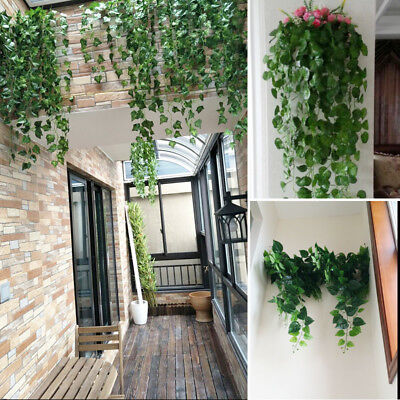 2 Bunches Plastic Artificial Ivy Leaf Fake Leaves Fern Foliage Green Plant Vine