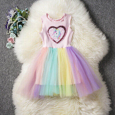 Unicorn Dress for Girls Princess Party Dress Baby Girl Rainbow Tulle Clothes