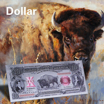 WR 1901 US $10 Bison Note Colored Silver Banknote Old Dollar Novelty Collection