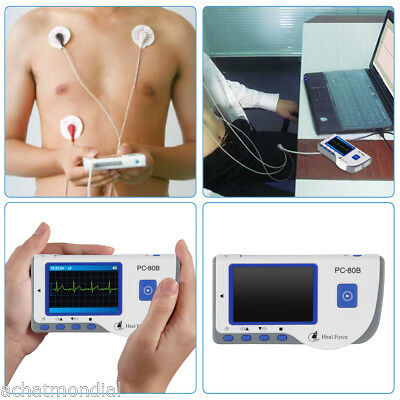 Portable Heal Force Ecg Heart Monitor Fda Color Lcdlead Cable50 Electrode Pads